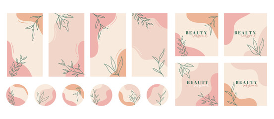 Fototapeta Social media stories, posts, highlights templates. Abstract floral vector backgrounds with copy space for text