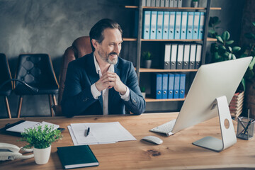 Portrait of his he nice attractive handsome cheerful man ceo boss chief employer meeting online interview hiring candidate vacancy at modern concrete industrial work place station