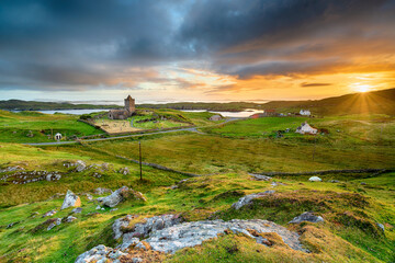 Wall Mural - Beautiful sunset over the village of Rodel on the Isle of Harris