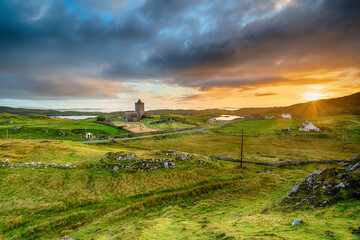 Wall Mural - Sunset over Rodel on the Isle of Harris
