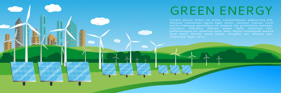 Green energy concept banner design with wind turbines and solar panels on the background of the cityscape. Renewable solar and wind energy sources. Vector illustration, flat style. space for text