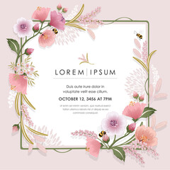 Wall Mural - Vector illustration of a beautiful floral frame for Wedding, anniversary, birthday and party. Design for invitation card, picture frame, poster, scrapbook