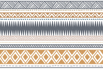 Ethnic vector seamless pattern. Tribal geometric background, boho motif, maya, aztec ornament illustration. rug textile print texture