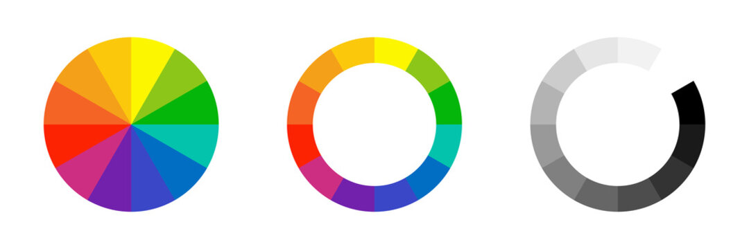 Color wheel. Vector isolated element. Circle colour spectrum palette.