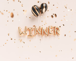 Winner sign letters with golden confetti. Banner word winner design pink background. 3d rendering