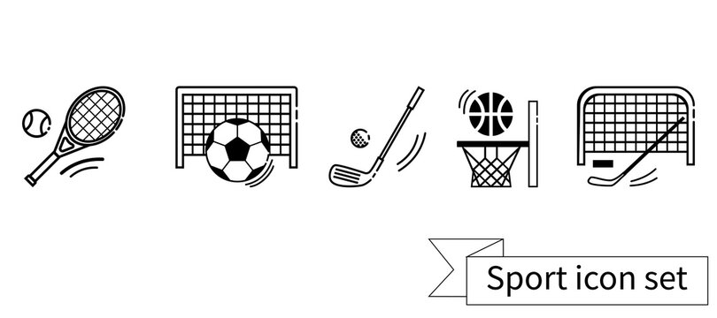 Vector collection of sport linear black icons. hockey, basketball, football, golf and tennis.