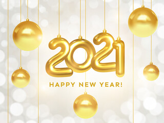 Happy New Year 2021. Holiday banner of hanging golden metallic numbers 2021 and sparkling shiny Christmas balls