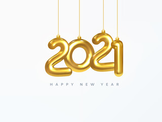 2021 New Year card. Design of Christmas decorations hanging on a gold chain gold number 2021