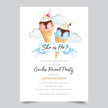 Gender reveal party invitation template with watercolor ice cream illustration