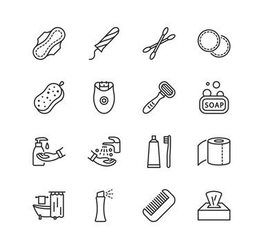 Personal hygiene products flat line icon set. Editable strokes.