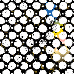 seamless background pattern, with circles/dots, paint strokes and splashes, black and white