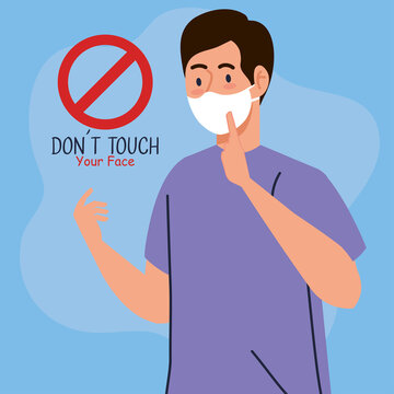 do not touch your face, man using face mask, avoid touching your face, coronavirus covid19 prevention vector illustration design