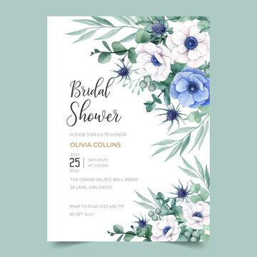 Beautiful Bridal Shower invitation design with anemone flower