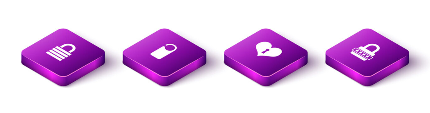Set Isometric Lock, Please do not disturb, Heart with keyhole and Password protection icon. Vector.