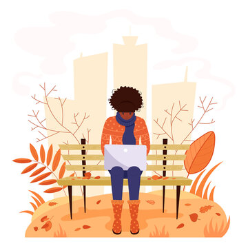 Woman working with laptop in the park. Concept of couchsurfing character or freelancer. Cute illustration in flat style.