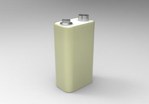 A 3d model of a 9 volt battery