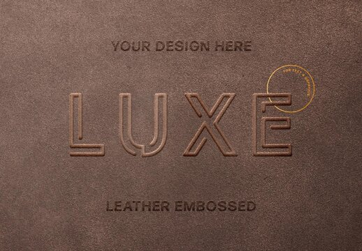 Leather Embossed Text Effect Mockup