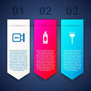 Set Barbershop, Shaving gel foam and Hairbrush. Business infographic template. Vector.