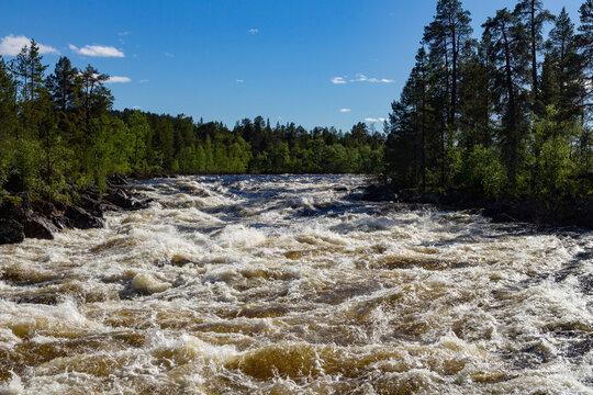 Violent water in Janiskoski rapids. River in Lapland.