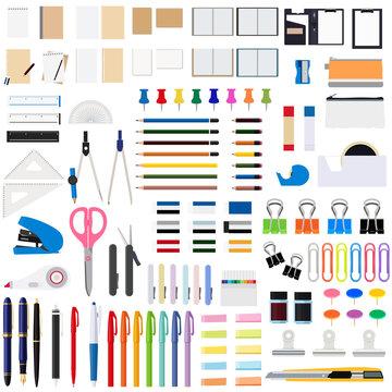 イラスト素材 文房具セット 筆記用具 事務用品 アイコン 学校 備品 ベクター