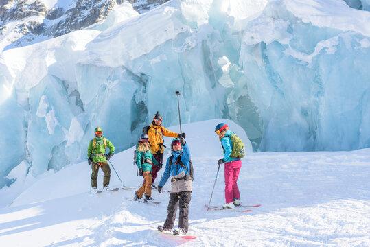Friends taking selfie in ski vacation