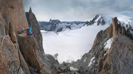 Mountain climber admiring the view
