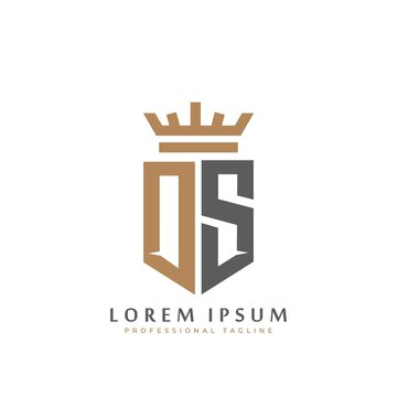 Premium DS Monogram of Two letters D&S. Elegant gold shield initials and crown geometric old retro graphic logo design. alphabet vector elements stock illustration
