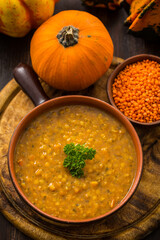 Red lentils and pumpkin soup for Thanksgiving