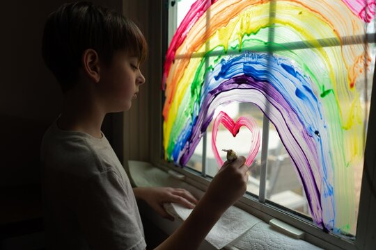 boy painting rainbow: Let's all be well