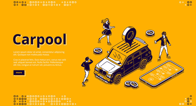 Carpool isometric landing page, people rent car for joint trip using mobile app. Characters stand around automobile with gps pin on roof, carpooling transport service, 3d vector line art web banner