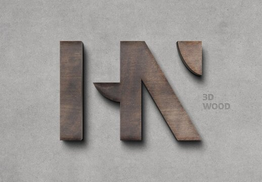 3D Wood Logo Sign Mockup on Concrete Wall
