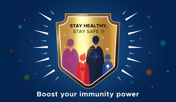 Immunity strength, Power, Strong immunity system, Family immunity boost concept against Coronavirus Covid-19 pandemic with shield. How to boost immunity, Ayurvedic booster