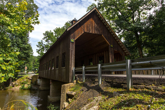 Emerts Cove Covered Bridge In Sevier County, Tennessee. This bridge is part of state owned infrastructure and not private property.