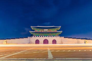 Seoul, South Korea - August 17, 2015: Main entrance to main traditional palace at the center of Seoul - Seoul, Republic of Korea
