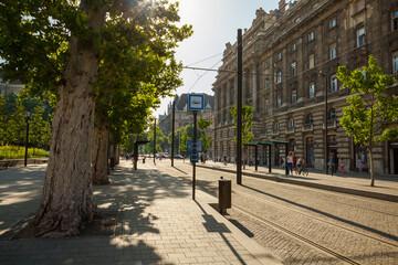 BUDAPEST, HUNGARY - JUNE 16, 2016: Kossuth Lajos ter tram stop next to National Parliament Building, Budapest - Hungary