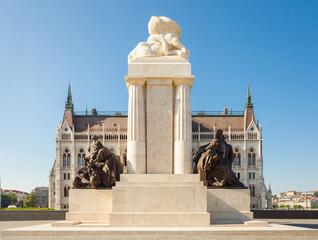 BUDAPEST, HUNGARY - JUNE 16, 2016: Tisza Istvan Memorial near Hungarian Parliament building in Budapest, Hungary