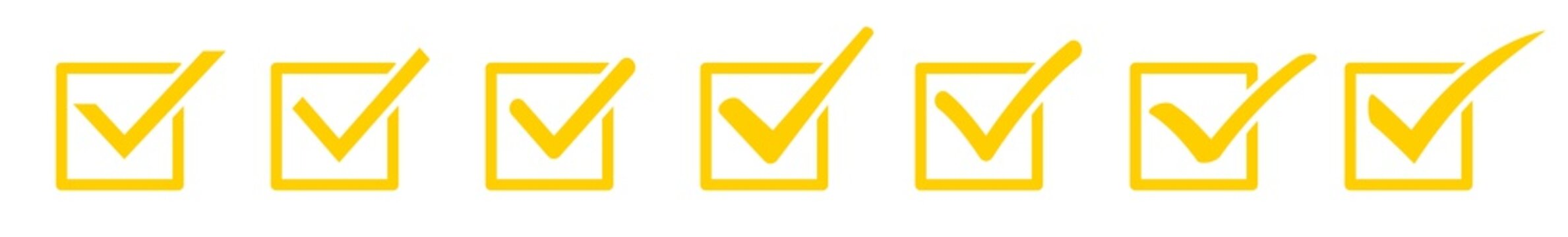 Check Mark Checkbox Square Icon Yellow | Checkmark Illustration | Tick Symbol | Voting Logo | Approved Sign | Isolated | Variations