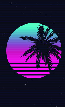 New etro Wave Artwork with Palm Tree, Sunset and Stars