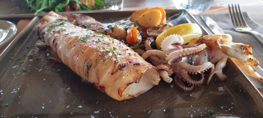 Closeup of a delicious grilled squid