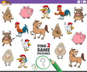find two same farm animals educational task for children