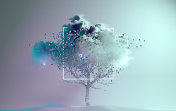 Digitally generated image of tree