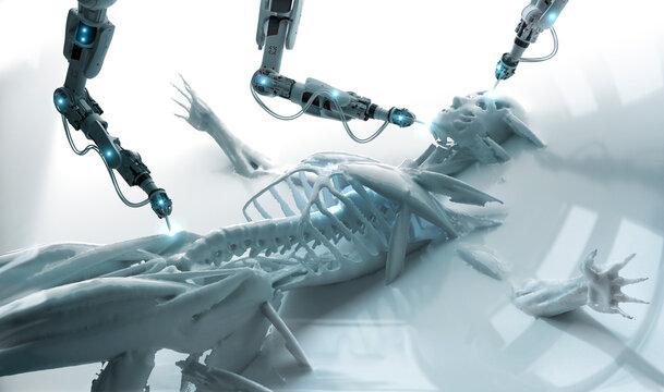 Robotic arms examining human skeleton