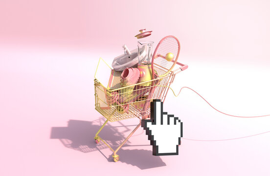 Shopping cart with variety of equipment