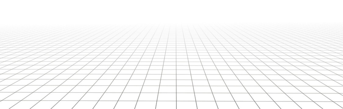 Vector perspective mesh. Detailed grid lines on white background.