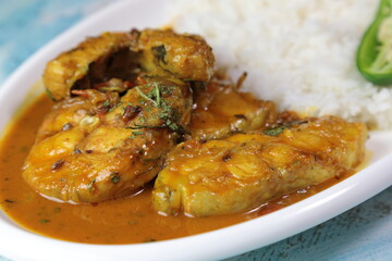 A platter of North Indian style Fish curry with Rice