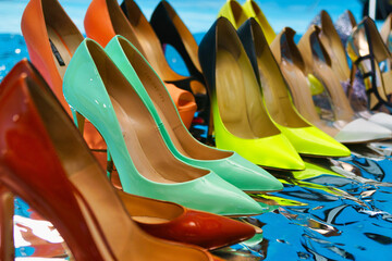 Many beautiful colored women's shoes