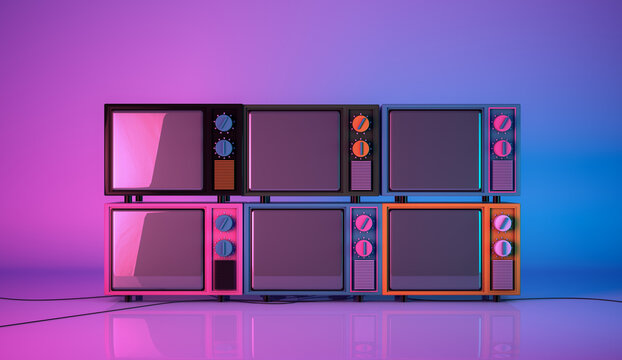 3d rendering, Realistic mock up of colorful vintage television set, monitor blank empty space, pink and blue glowing colors background.