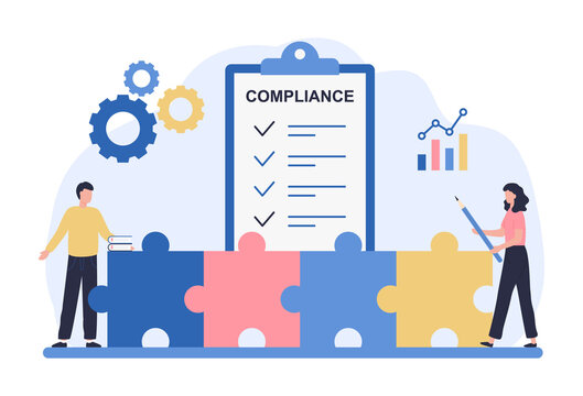 Regulatory compliance concept. Business people read laws, discuss changes, plan the implementation of rules and the development of the company. Flat vector illustration isolated on white background