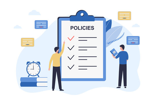 Regulatory compliance concept. Business people, leaders create and edit rules for making decisions and achieving the long-term goals of the organization. Flat vector illustration on white background
