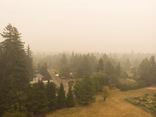 Smoke from a burning forest in a town, burning forests in Oregon, Washington and California. The danger